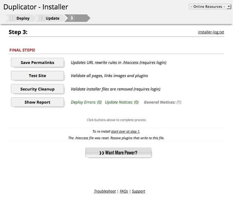 الخطو الاخيرة في نقل الموقع مع اضافة - Duplicator