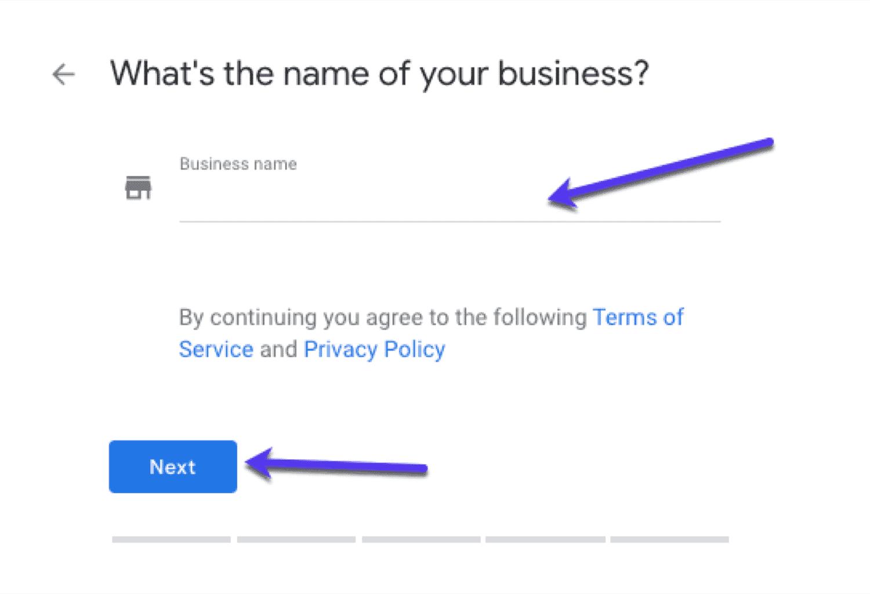 اختاير اسم الشركة جوجل بيزنس