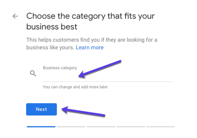 جوجل بيزنس اختيار التصنيف