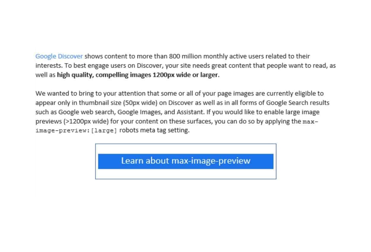 اشعار جوجل بخصوص حجم الصور في نتائج البحث و Discover