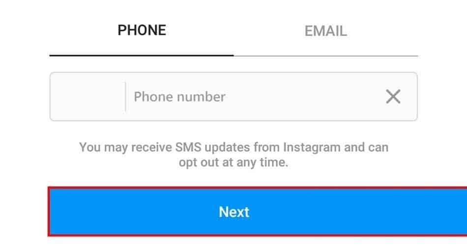 إنشاء حساب Instagram برقم هاتف محمول