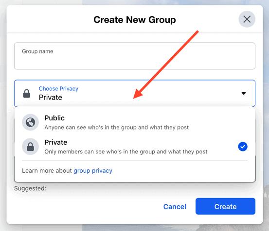 انشاء جروب على الفيس بوك اعدادات الخصوصية