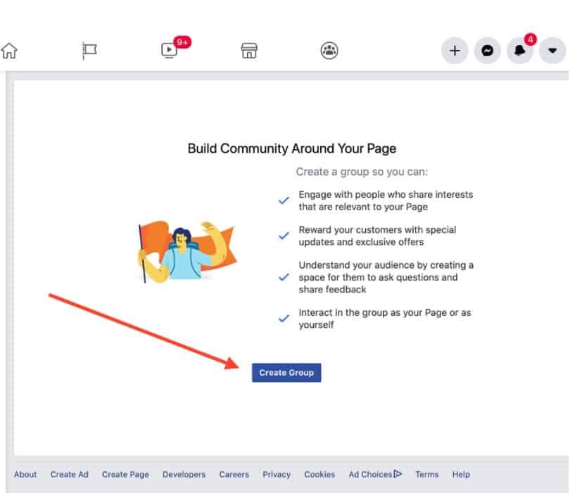 انشاء جروب لصفحة فيس بوك