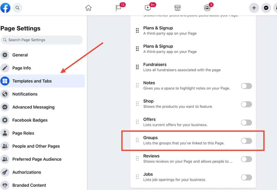 تفعيل علامة التبويب جروب فيس بوك