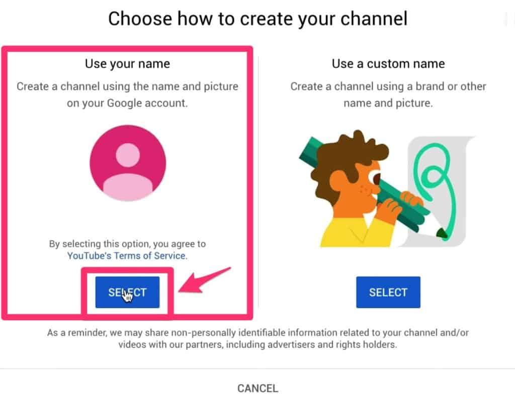 اختيار اسم القناة
