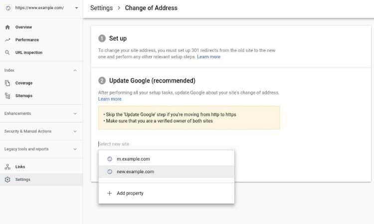 جوجل تطلق اداة نقل عنوان الدومين في وحدة تحكم المشرف الجديدة 1