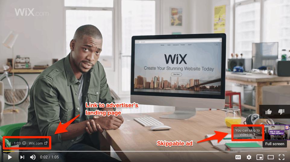اعلانات يوتيوب مثال