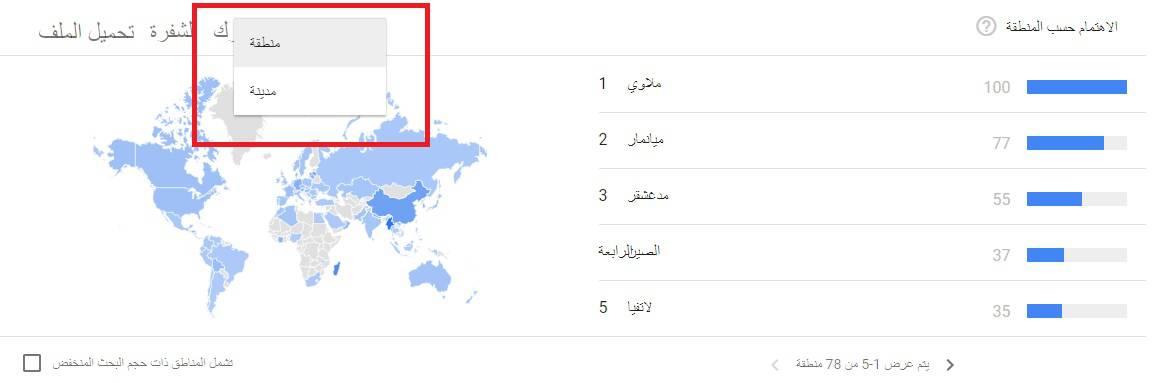 جوجل تريندز اختيار المنطقة او المدينة