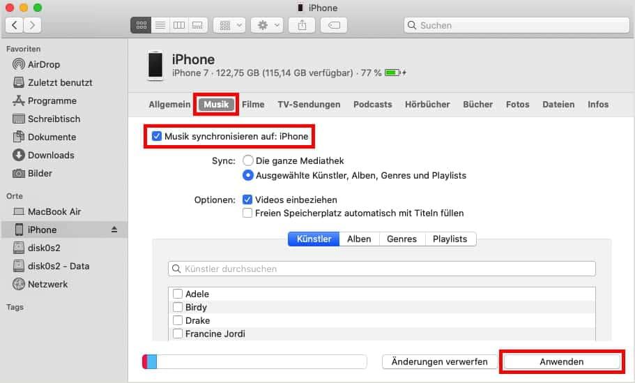 مزامنة جهاز ايفون على الكمبيوتر
