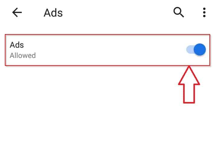 مفتاح تفعيل مانع الاعلانات جوجل كروم اندرويد