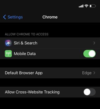 اختيار المتصفح على جهاز ايفون