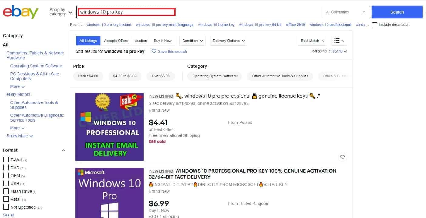 شراء ويندوز 10 من موقع إيباي
