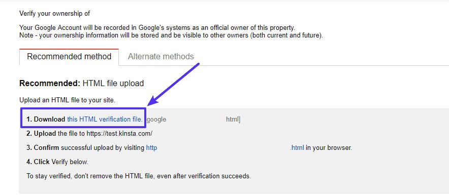 التحقق عبر ملف HTML